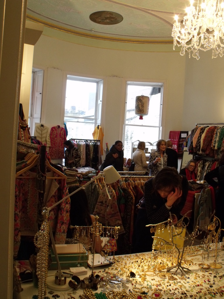 One of the many rooms in Asia House including jewellery and textiles stalls.