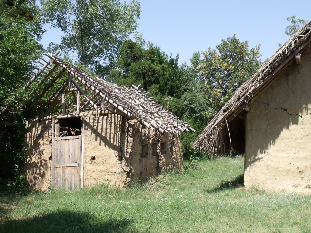 Replica Neolithic houses. One couldn't be completed but serves well to show the construction.