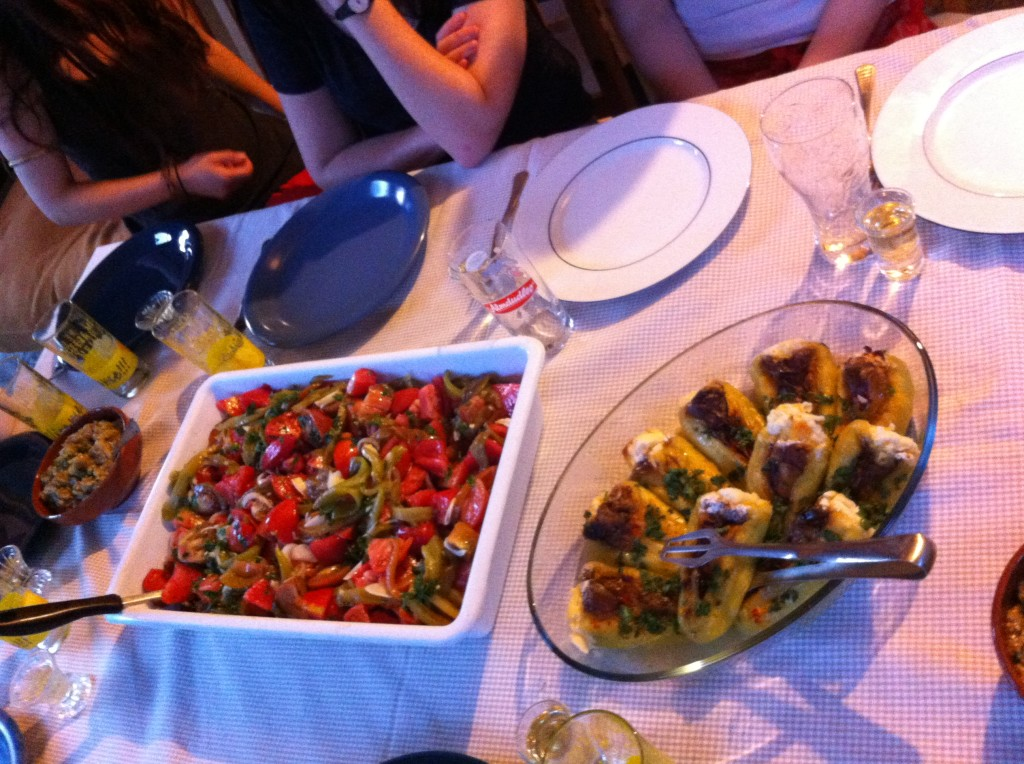 Tomato salad, stuffed peppers, aubergine puree, accompanied by Bulgarian national spirit- Rakia