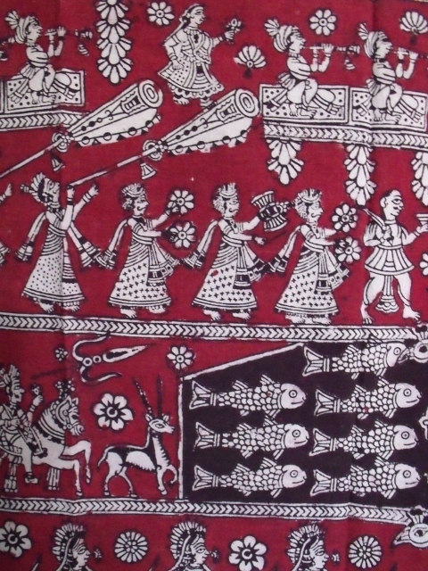 A different section of the same cloth as above. These warriors, musicians, women holding flowers and animals surround the central panel containing the Mata, and is bordered with geometric and floral patterns