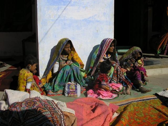 Women working on embroidery in Hodka village, Kachchh