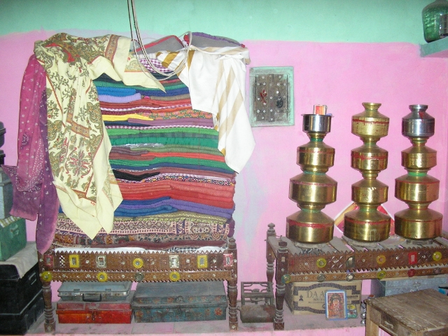 Pile of quilts in a bungha in Dhordo, Kachchh