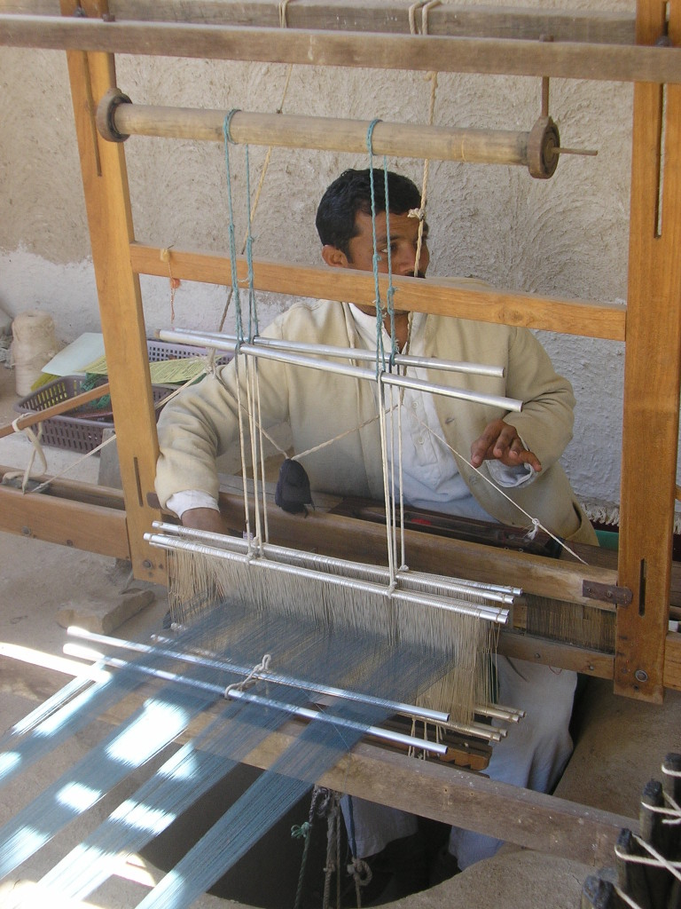 Shamji at his loom in 2008
