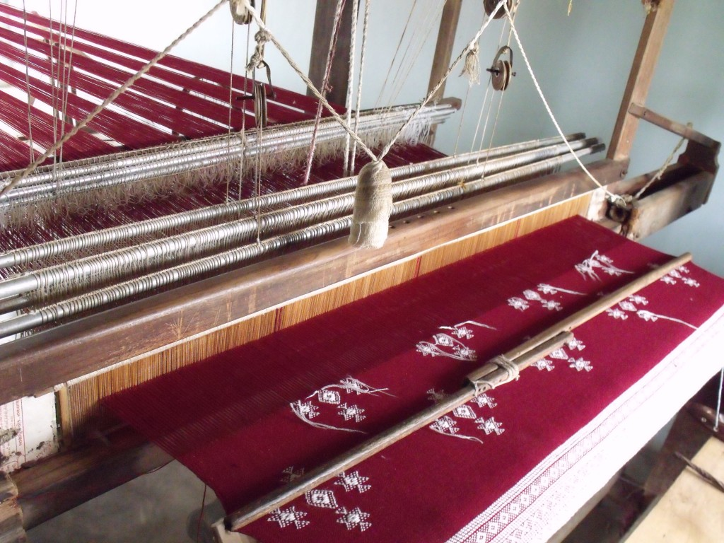 A shawl being woven on Magan Govind's loom