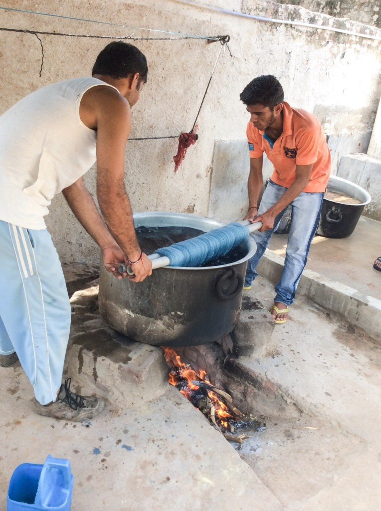 Shamji's brothers dyeing some tussar silk in chemical indigo