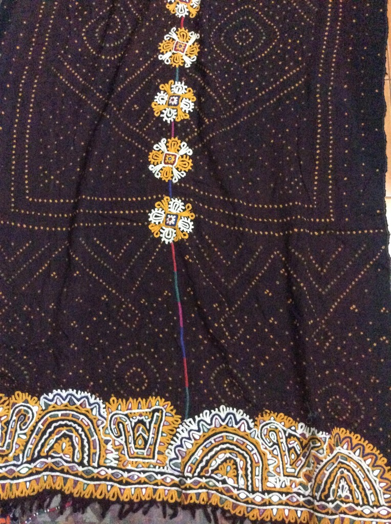 A wool hand-woven, tie-dyed and embroidered Rabari shawl