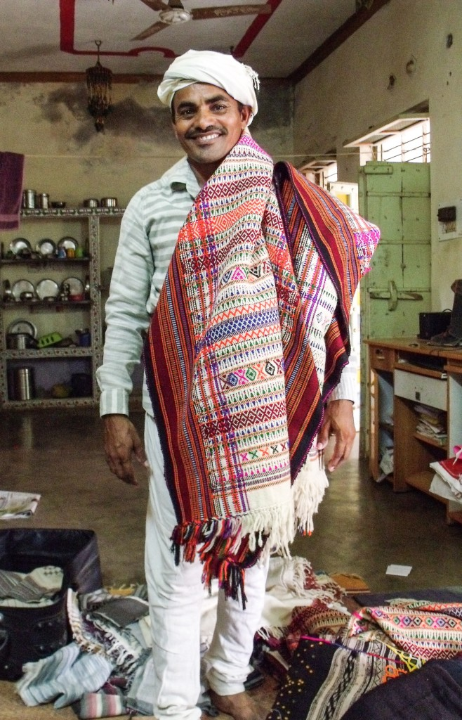 Ramjibhai proudly modelling a traditional dhablo
