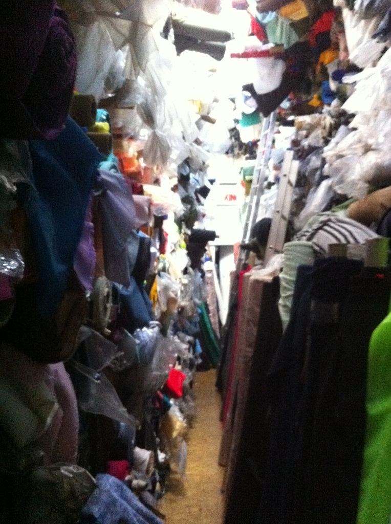 A long-standing fabric shop on Brick Lane - a long tunnel of rolls upon rolls of fabric!