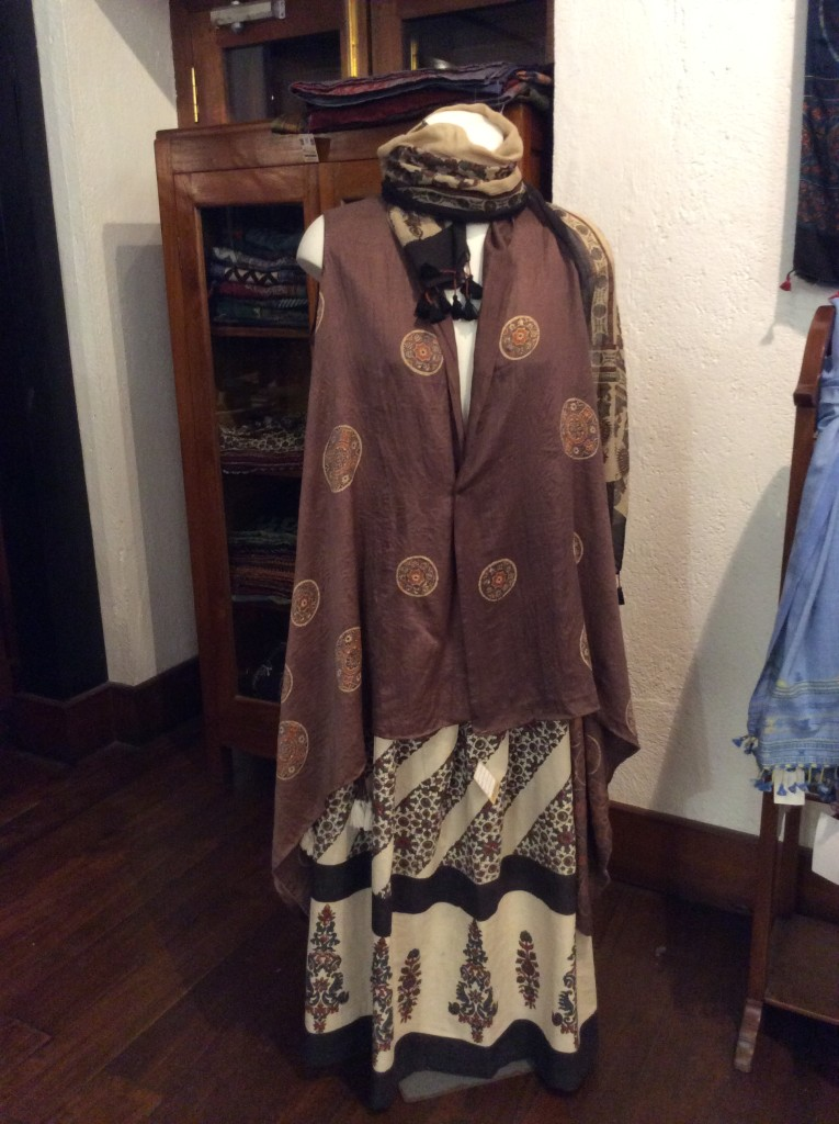 A display of a skirt, jacket and stole by Khalil Khatri at Artisans' gallery