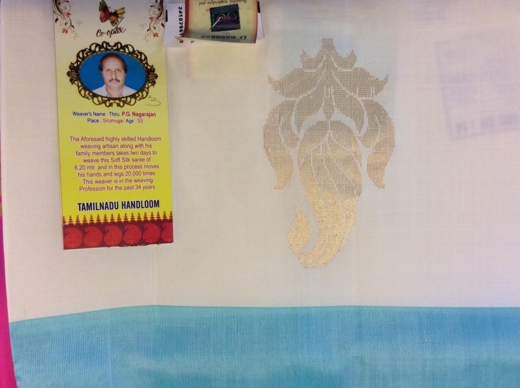 A weaver's bio attached to his sari