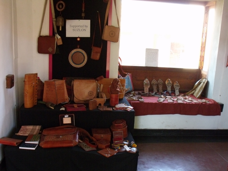 A collection of leather products at Khamir in 2010