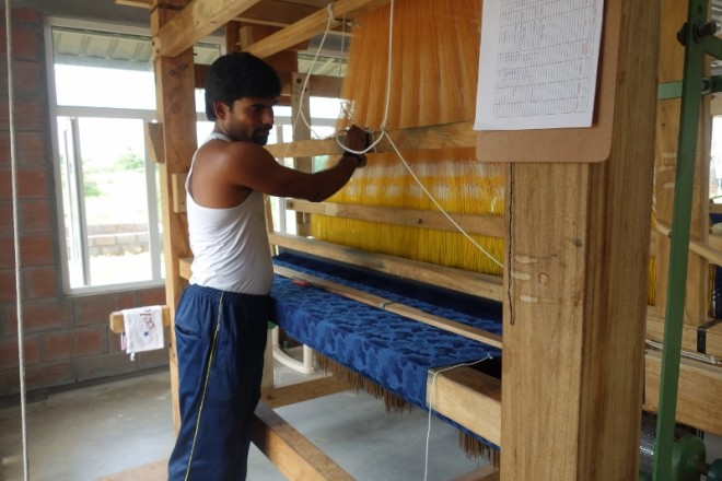 A weaver in the Five P workshop at Chennimalai